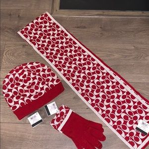 afb9f6a20 NWT Coach scarf, hat and gloves set. Red & silver